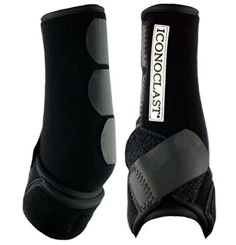 Iconoclast Orthopedic Support Boots - 1 Pair for Front Legs (Black, Large) by Iconoclast Equine Support Boots
