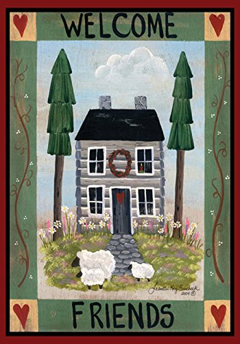 Toland Home Garden Cottage Welcome 28 x 40 Inch Decorative Americana Farm Home Sheep Heart House Flag ()