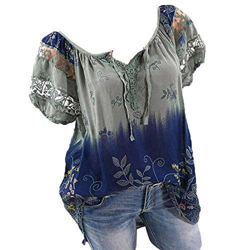 Womens Loose Plus Size Floral Print T-Shirt Tee S-5XL, Lace Ruffle Short Sleeve V-Neck Basic Top Tie Dye Ugly Shirt Blouse Green