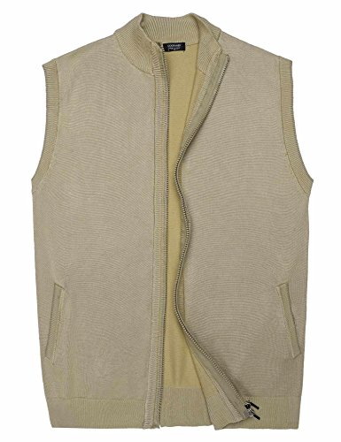 Fit Sleeveless Jacket Coat Full Zip Cardigan Sweater Vest (Zip Front Sweater Vest)