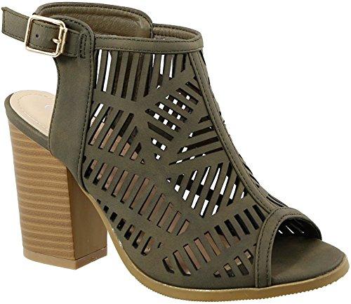 کفش MVE کفش پاشنه بلند زنان پاشنه بلند - پاشنه بند مچ پا Faux کفش چرم