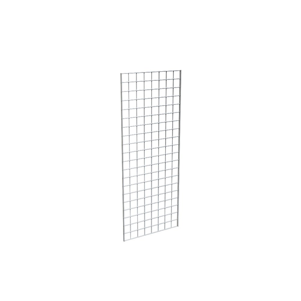Econoco Commercial Grid Panels, 2' Width x 5' Height, Chrome (Pack of 3)