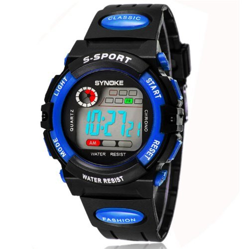 SYNOKE Unisex Kids Student Watches Fashion Sports Watches with Alarm Chronograph Long lasting battery Calendar Noctilucen Wristband Digital Watches (Blue) (Calendar Digital Wrist Watch)