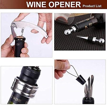 Tang Yuan 4 Piezas de Accesorios para Vino y Caja de Regalo,Que Incluye vertedor de Vino,Jarra,sacacorchos, Corcho,Anillo de Vino