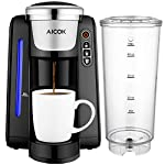 Single Serve Coffee Maker, Aicok K-Cup Pods Coffee Maker, Coffee Machine with Five Brew Sizes, 45Oz Large Removable Reservoir and Visible Water Level Indicator, AC 505 from Aicok