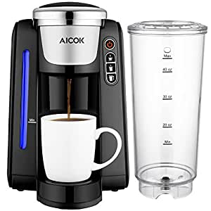 Single Serve Coffee Maker, Aicok K-Cup Pods Coffee Maker, Coffee Machine with Five Brew Sizes, 45Oz Large Removable Reservoir and Visible Water Level Indicator, AC 505