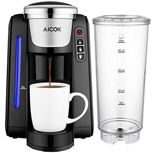 Aicok Single Serve Programmable Coffee Maker, Coffee Machine with Five Brew Sizes for Most Single Cup Pods Including K-CUP pods, 45 OZ Large Removable Water Tank, Quick Brew Technology, AC505K by Aicok