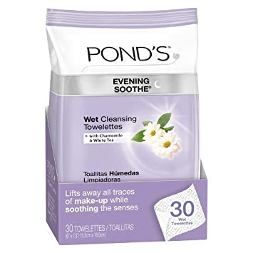 Ponds Wet Cleansing Towelettes, Evening Soothe With Chamomile And White Tea 28 Ea (pack
