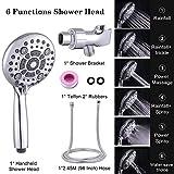 Shower Head, SR SUN RISE 6-Settings High Pressure Handheld Shower Head Set