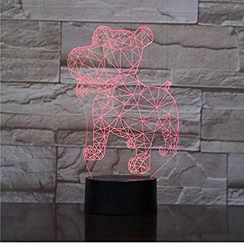 NewbieBoom 3D Rottweiler Dog Light Animal Lamp Stand USB Led Night Light Niños S Gift Touch Sensor Decoración de luz de…