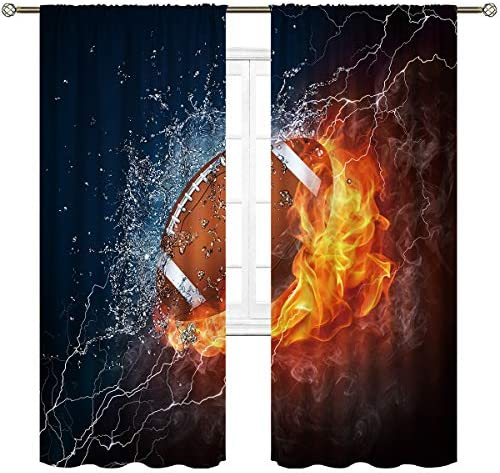 Reviewed: Cinbloo American Football Curtains Rod Pocket Fire Water Sports Flame Splashing Thunder Lightning Cool Boys Art Printed Living Room Bedroom Window Drapes Treatment Fabric 2 Panels 52 W X 84 L Inch