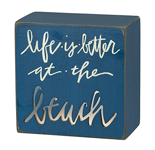 Washed Wood Table Lamp (Life is Better at the Beach - Lighted Desk and Table Box Lamp Sign)