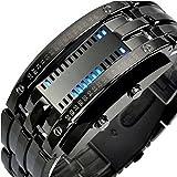 Multi-function Retro Style Waterproof Sports Digital LED Stainless Wolfram Steel Binary Number Men's Wrist Watches