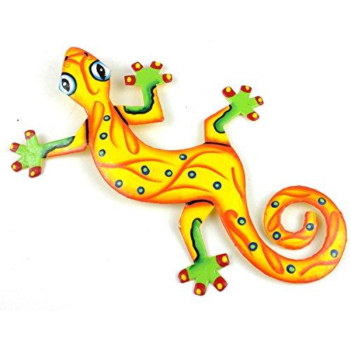 Eight Inch Sunshine Yellow Metal Gecko