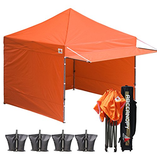 ABCCANOPY 10x10 Easy Pop up Canopy Tent Instant Shelter Commercial Portable Market Canopy with Matching Sidewalls, Weight Bags, Roller Bag,Bonus 23 Square Feet of Canopy Awning (Orange-1)