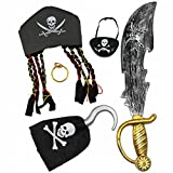 Toys : Joyin Toy Halloween Pirate Costume Set Including Hat, Eye Patche, Sword, Ear Ring and Hook