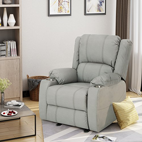 Sophia Traditional Light Grey Leather Recliner with Steel Cup Holders