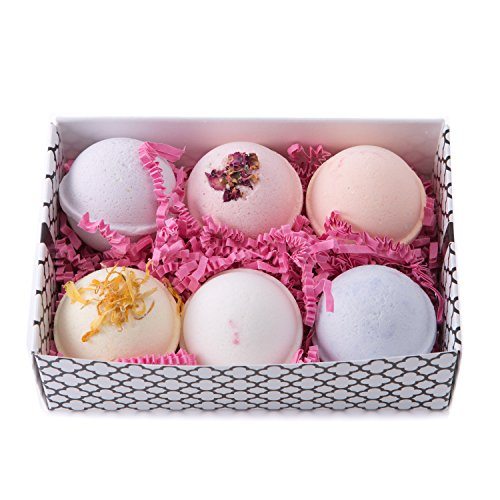 Bath Bomb Gift Set w/ Rose, Lilac, Gardenia, Violet, Freesia & Orange Blossom Scented Fizzies Bath Balls | Set of 6, Handmade in USA From Tatum & Shea (Floral) (Light Violet Rose)