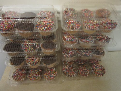 Oasis Supply PJP LBH-6656-12A 6-Compartment Cupcake Containers with Hinged Lid and 12 containers, Clear