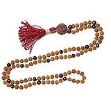 Mogul Buddhist Mala beads Necklace Knotted 108 Garnet AMBITION Rudraksha Healing japaMala