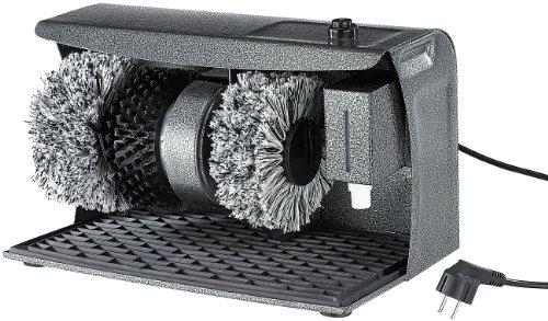 Sichler Haushaltsgeräte PROFI Schuhputz-Maschine, Hammerlack, 3 Bürsten, Schuhcreme-Spender