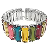 Gypsy Jewels Fun Lightweight Silver Tone Cuff Bangle Bracelet - Assorted Colors (Bright Multi Color)