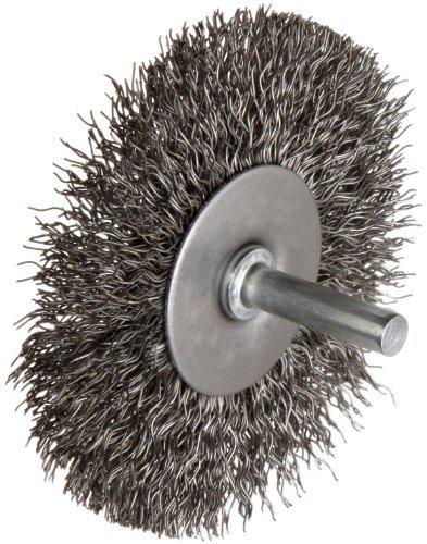 Weiler Wire Radial Wheel Brush, Round Shank, Steel, Crimped Wire, 3 Diameter, 0.014 Wire Diameter, 1/4 Shank, 13/16 Bristle Length, 20000 rpm by (Wire Wheel Weiler Brush)