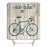 Messagee Bicycle Children New Style Modern Art Fabric Waterproof Shower Curtain with 12 Hooks
