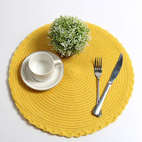 U'Artlines Indoor & Outdoor Round Cotton Placemat, Perfect for Fall, Dinner Parties, BBQs, Christmas Parties and Everyday Use,6pcs placemats, Yellow