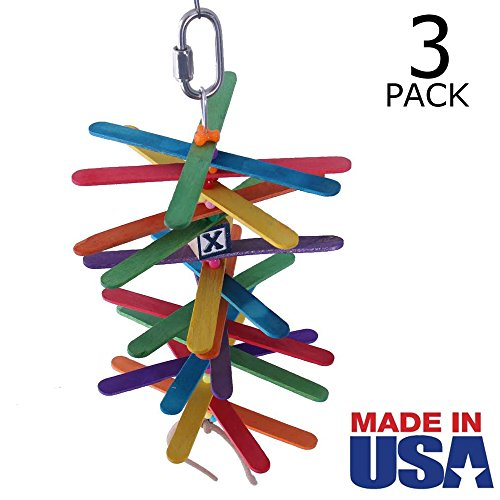 Popsicle Sticks Bird Toy for Small / Medium Birds - MADE IN USA - 3-Pack by Beakaroos - Parakeet Cockatiel Conure Parrotlet Lovebird Shredder - 1001 Mini Stick