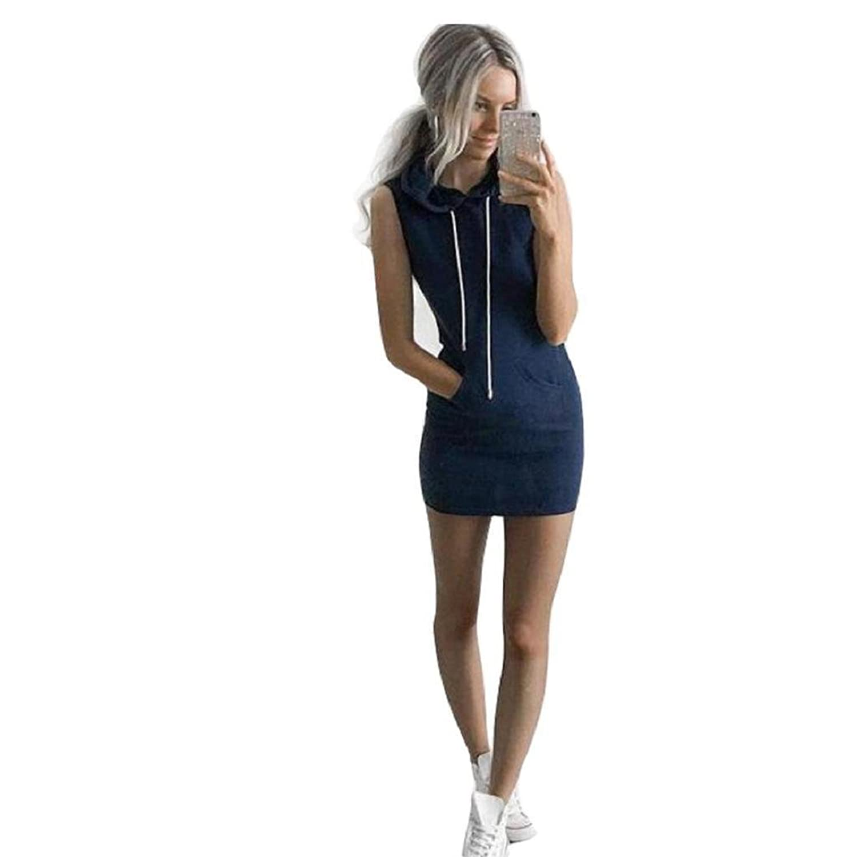 Generic Mode Frauen Sommer lässig ärmellos Hoodie Kleid