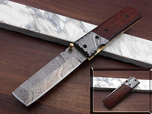 Damascus Steel Tanto Blade Folding Knife, Natural Ram Horn Scale with Damascus Bolster, Cow Hide Leather Sheath with Belt Loop, Equipped with Thumb knob & Liner Lock (Rose Wood)