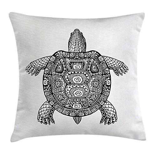 GOEUME Turtle Throw Pillow Cushion Cover, Tribal Patterns on Turtle Illustration Monochrome Animal Themed Tortoise Print, Decorative Square Accent Pillow Case, 18 X 18 Inches, Black and White