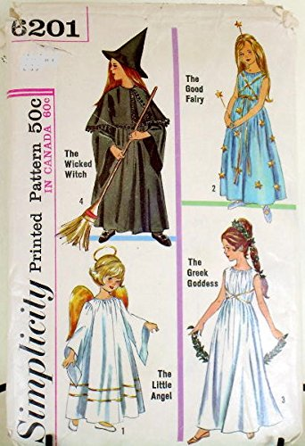 Greek Goddess Costumes Patterns (Simplicity 6201 Child Witch, Fairy, Angel or Greek Godess Costume Sewing Pattern Childs Size 4-6 Small)