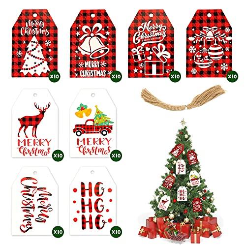 HAKACC Weihnachten Etiketten Anhänger, Geschenkanhänger Kraftpapier Tags Anhängeschilder mit Schnur für Dekorieren von Weihnachtsbaum