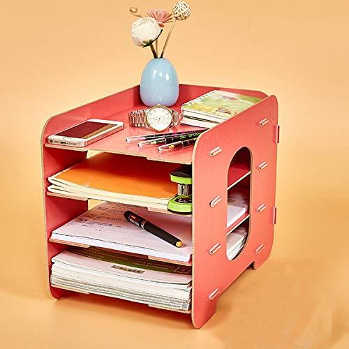 Collocation-Online Office Desktop File Holder Storage Box Wooden Multilayer Shelf Mobile Household Desktop Box,Black by Collocation-Online (Image #5)