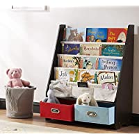 SEIRIONE Book Rack Kids Sling Bookshelf Children Safety Display Shelves Two Storage Boxes and Toys Organizer Bookcase
