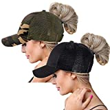 ZOORON Ponytail Hat Baseball Cap for Women Novelty Glitter Messy High Bun Trucker Hat Ponycaps Plain Baseball Visor Cap (2pack-wb-Black&Camouflage)
