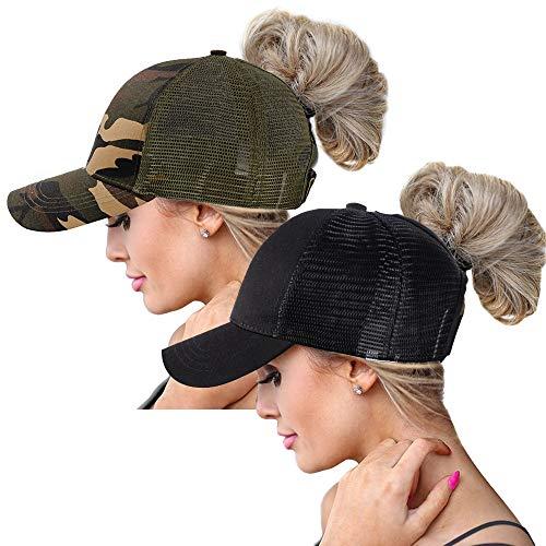 (ZOORON Ponytail Hat Baseball Cap for Women Novelty Glitter Messy High Bun Trucker Hat Ponycaps Plain Baseball Visor Cap (2pack-wb-Black&Camouflage))