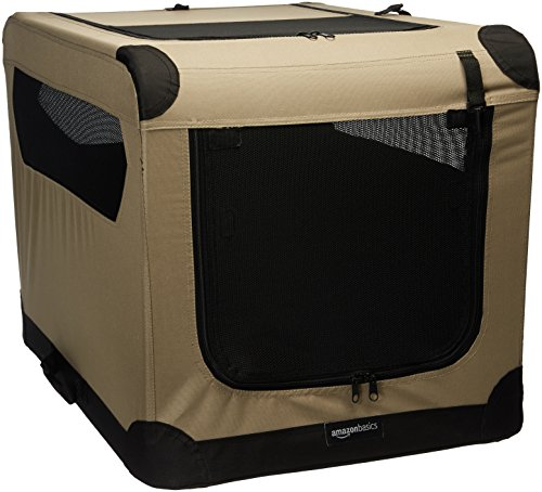 AmazonBasics Portable Folding Soft Dog Travel Crate Kennel - 21 x 21 x 30 Inches, Tan