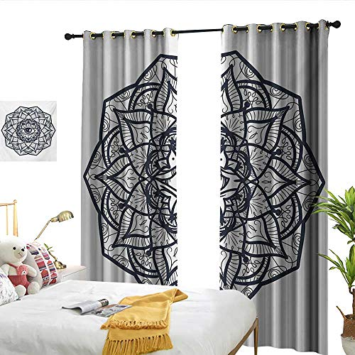 WinfreyDecor Occult Sliding Curtains Abstract Ornamental Eye with Ethnic Mandala Form Providence Energy in Action Design 70%-80% Light Shading, 2 Panels,W84 x L96