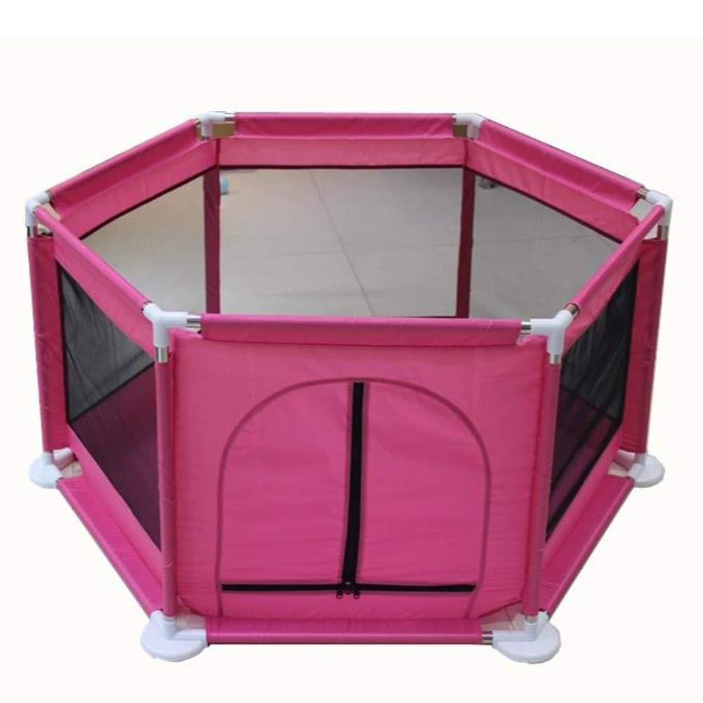 Pink Portable Playpen, 6-Panel Playground for Infants Toddler, Freestanding Security Fence Kids Activity Center (color   Pink)