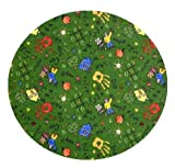 Scribbles Green Multi - 3' ROUND Custom Stainmaster Premium Nylon Carpet Area Rug ~ Bound Finished Edges