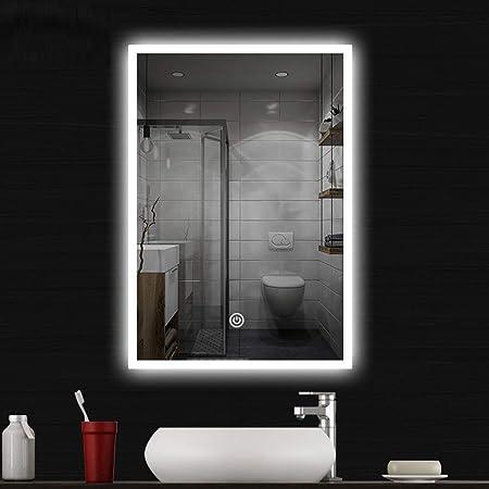 COCOFLY Miroir Salle de Bain LED Miroir Mural Premium Miroir Maquillage  Lampe de Lumineux LED Eclairé avec Interrupteur Tactile Lumière 3Couleurs  IP44 ...
