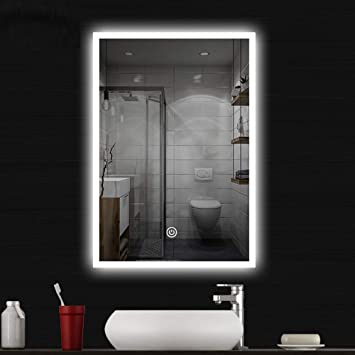 COCOFLY Miroir Salle de Bain LED Miroir Mural Premium Miroir Maquillage  Lampe de Lumineux LED Eclairé avec Interrupteur Tactile Lumière 3Couleurs  ...