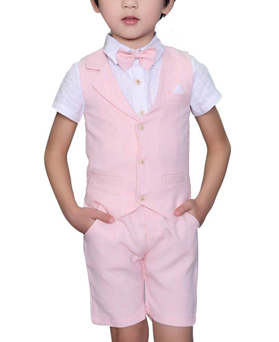 Boys Plaid Summer Suits Vest Set 3 Pieces Shirt Vest and Pants Set 3 Colors (3T, Pink)