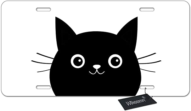 Amazon Com Wondertify License Plate Black Cat Face Cute Cartoon