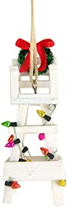 Christmas Tree Decor Beach White Wooden Lifeguard Chair Hanging Ornament 5 Inch