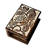 Wooden Tea Storage Box Compact Organizer Handcrafted For Storage of Tea Bags Condiments Spices With Embossed Leaf Design