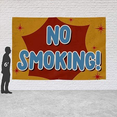 CGSignLab No Smoking Nostalgia Burst Heavy-Duty Outdoor Vinyl Banner 12x8